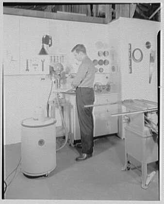 Burson & Marstellar at Fishman's, New Preston, Connecticut. Drill with vacuum cleaner