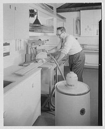 Burson & Marstellar at Fishman's, New Preston, Connecticut. Radial saw with vacuum