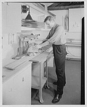 Burson & Marstellar at Fishman's, New Preston, Connecticut. Radial swing saw