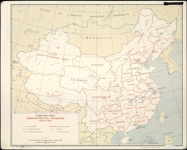 Communist China, administrative divisions, March 1956.