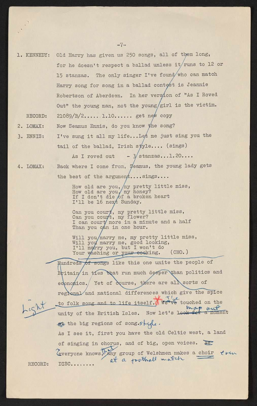 Alan Lomax Collection, Manuscripts, BBC, 1957, A Ballad Hunter Looks at Britain