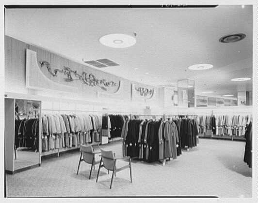 Gimbels, business in Valley Stream, Long Island. Coats and suits