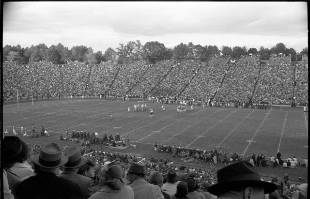 [Spectators and the field at a football game played by the Maryland Terrapins vs. the North Carolina Tar Heels in College Park, Maryland]