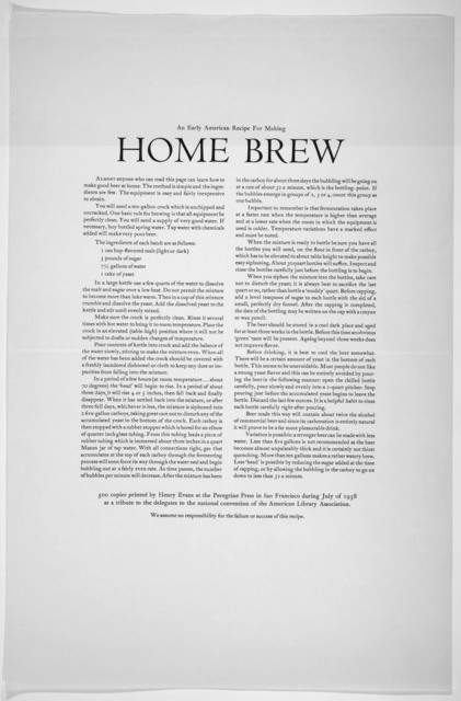 An early American recipe for making home brew. Peregrine Press