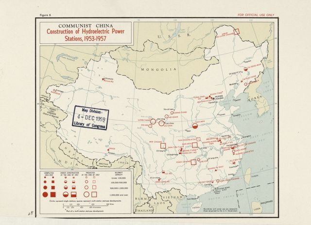 Communist China, construction of hydroelectric power stations, 1953-1957.