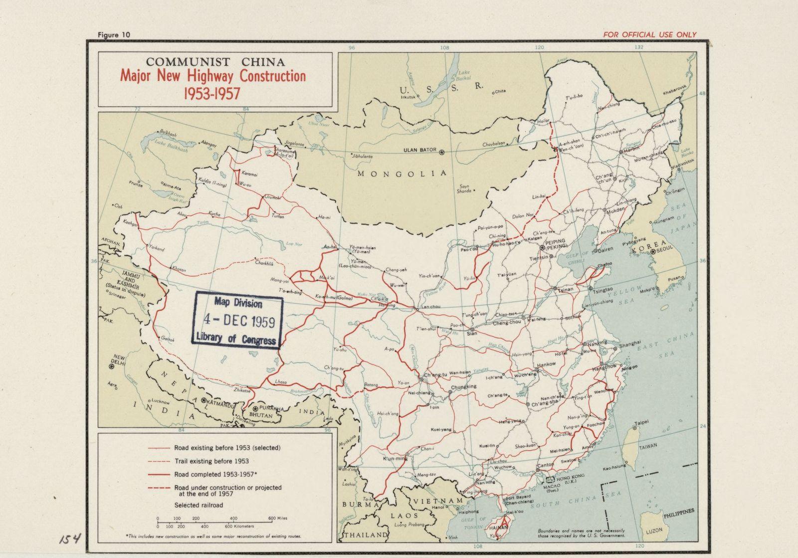 Communist China, major new highway construction 1953-1957.