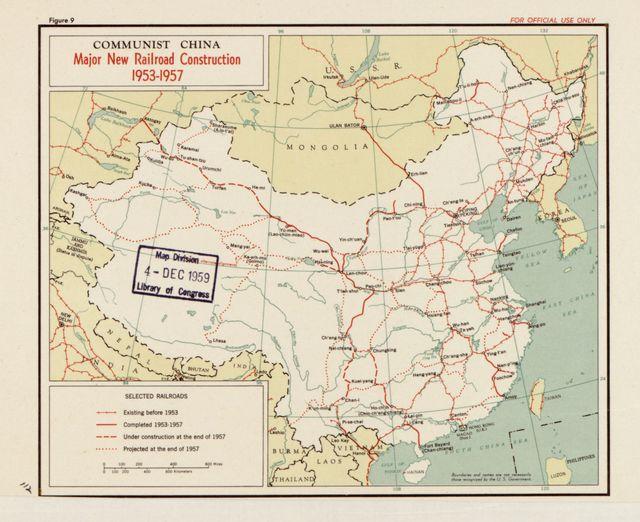 Communist China, major new railroad construction 1953-1957.