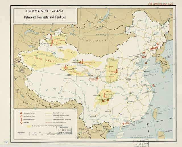Communist China, petroleum prospects and facilities.
