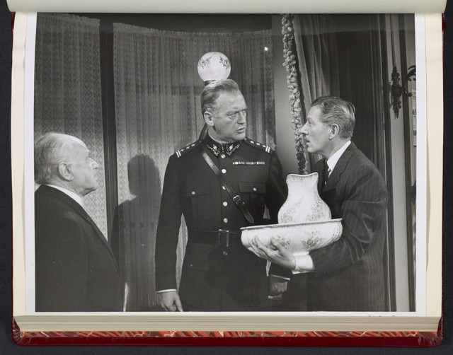 "[ Curd Jurgens and Danny Kaye (holding a wash basin and pitcher) - scene from ""Me and the Colonel""]"