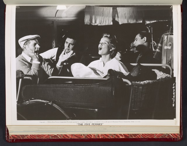 """[ Danny Kaye, Barbara Bel Geddes and band members sing on a bus - scene from """"The Five Pennies""""]"""