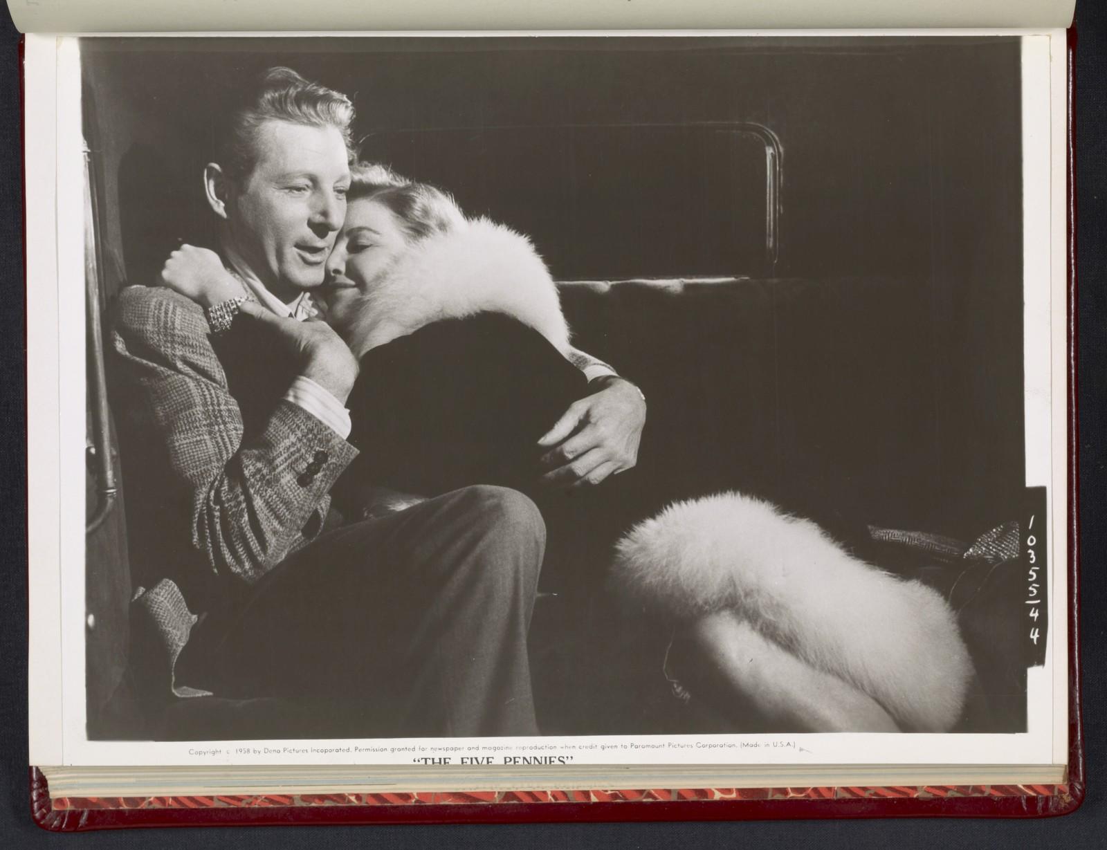 "[ Danny Kaye embracing Barbara Bel Geddes - scene from ""The Five Pennies""]"
