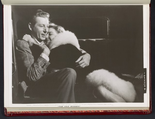 "[ Danny Kaye embracing Barbara Bel Geddes - scene from ""The Five Pennies""]"