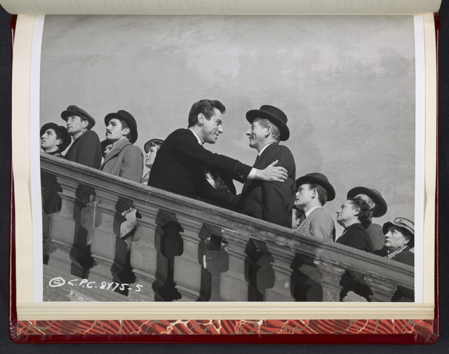 "[ Danny Kaye on stairs with other men - scene from ""Me and the Colonel]"