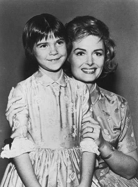 """[Donna Reed, as Donna Stone, and Patty Petersen, as her daughter, Trish Stone, in the television show """"The Donna Reed Show""""]"""