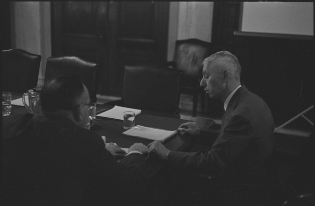 [Lt. General James M. Gavin, seated at a table, during hearings of the Senate Preparedness Subcommittee of the Committee on Armed Services]