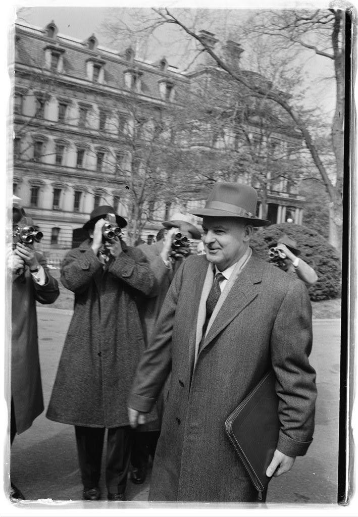 Mikhael A. Menshikov, new Soviet ambassador, outside White House, going to visit with President Eisenhower / [MST].