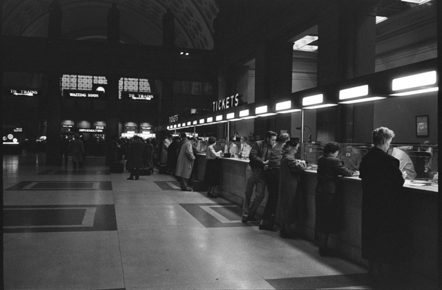 [Passengers at the ticket counter of Union Station, Washington, D.C.]