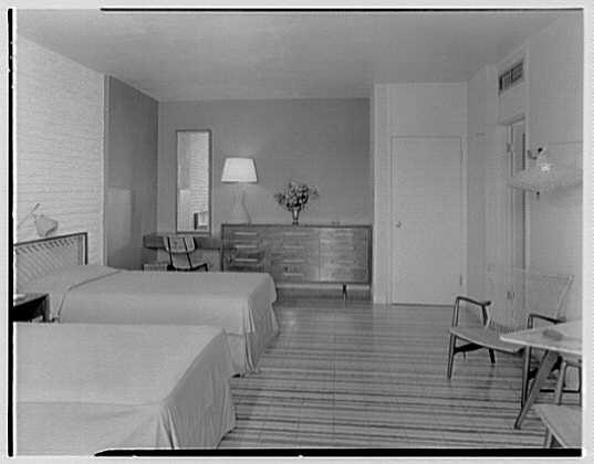 Arawak Hotel, Jamaica, British West Indies. Bedroom view, to dresser