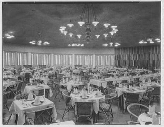 Arawak Hotel, Jamaica, British West Indies. Dining room, general view
