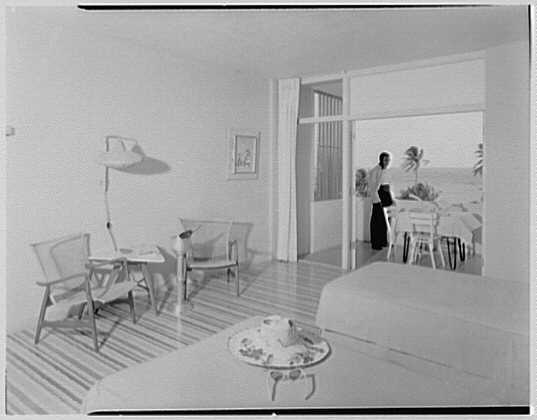Arawak Hotel, Jamaica, British West Indies. Interior of room, to balcony