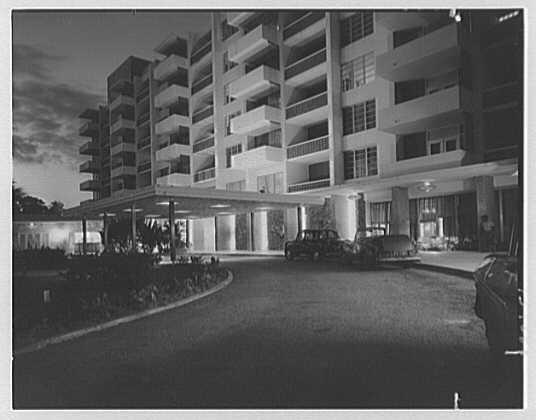 Arawak Hotel, Jamaica, British West Indies. Night view of entrance