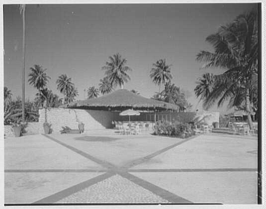 Arawak Hotel, Jamaica, British West Indies. Outside bar