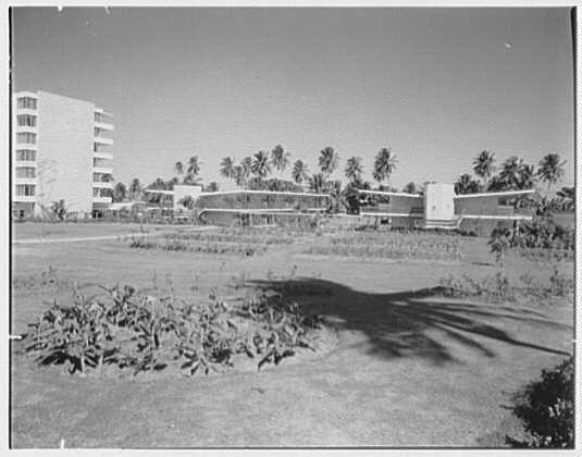 Arawak Hotel, Jamaica, British West Indies. View to cabanna and hotel