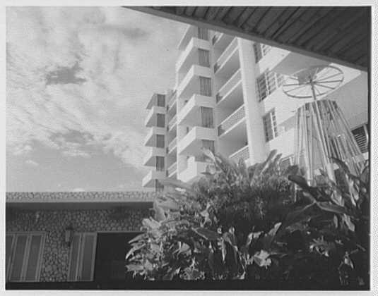 Arawak Hotel, Jamaica, British West Indies. View to floors, sharp