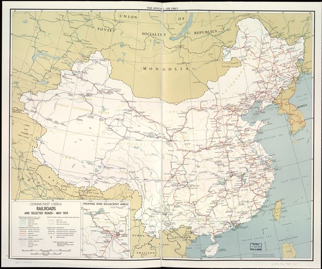 Communist China railroads and selected roads, May 1959.