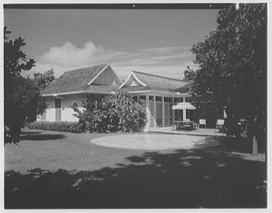 Dr. & Mrs. Matthew Mellon, residence at Runaway Bay, Jamaica, British West Indies. View through trees