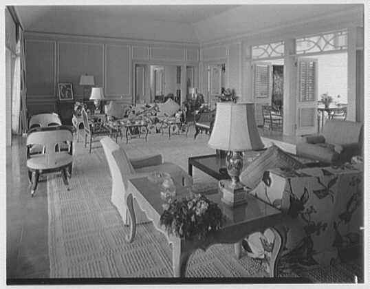 Dr. & Mrs. Matthew Mellon, residence at Runaway Bay, Jamaica, British West Indies. Living room, to dining room