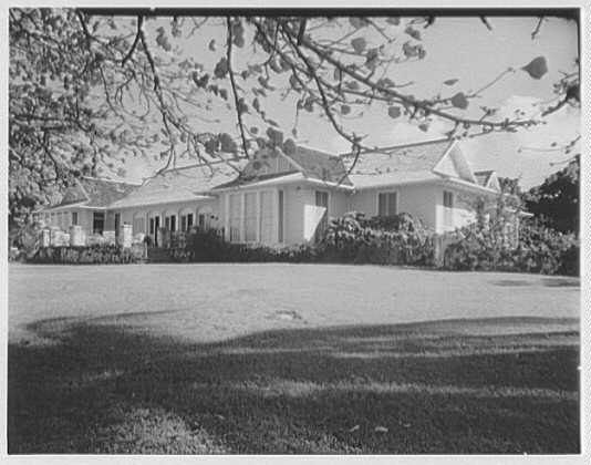 Dr. & Mrs. Matthew Mellon, residence at Runaway Bay, Jamaica, British West Indies. Exterior through trees