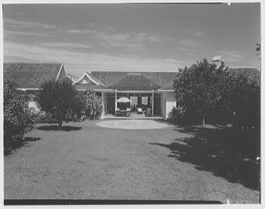 Dr. & Mrs. Matthew Mellon, residence at Runaway Bay, Jamaica, British West Indies. View from south