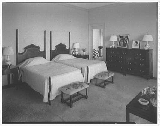 Dr. & Mrs. Matthew Mellon, residence at Runaway Bay, Jamaica, British West Indies. Mrs. Mellon's room, to beds