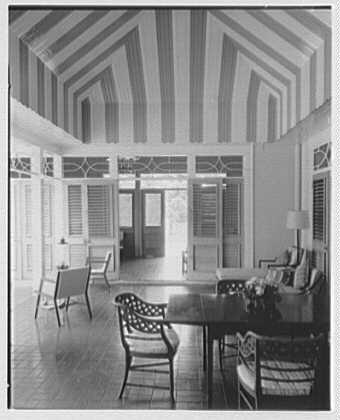 Dr. & Mrs. Matthew Mellon, residence at Runaway Bay, Jamaica, British West Indies. Rear porch