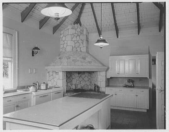 Dr. & Mrs. Matthew Mellon, residence at Runaway Bay, Jamaica, British West Indies. Kitchen
