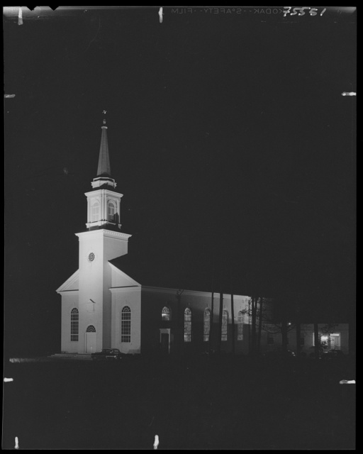 First Methodist Church, Elkin, North Carolina. Night view