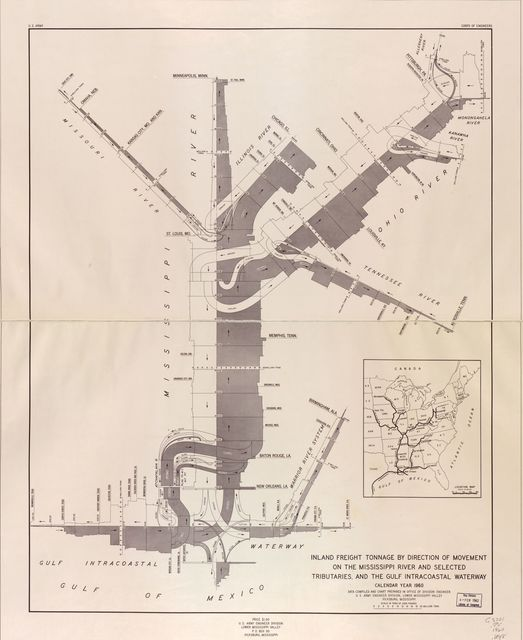 Inland freight tonnage by direction of movement on the Mississippi River and selected tributaries and the Gulf Intracoastal Waterway : calendar year 1960 /