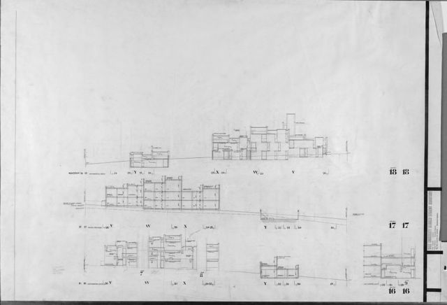 [Married Students Housing, Yale University, New Haven, Connecticut. Drawing set. Topographical map, plans, elevations, and sections ]