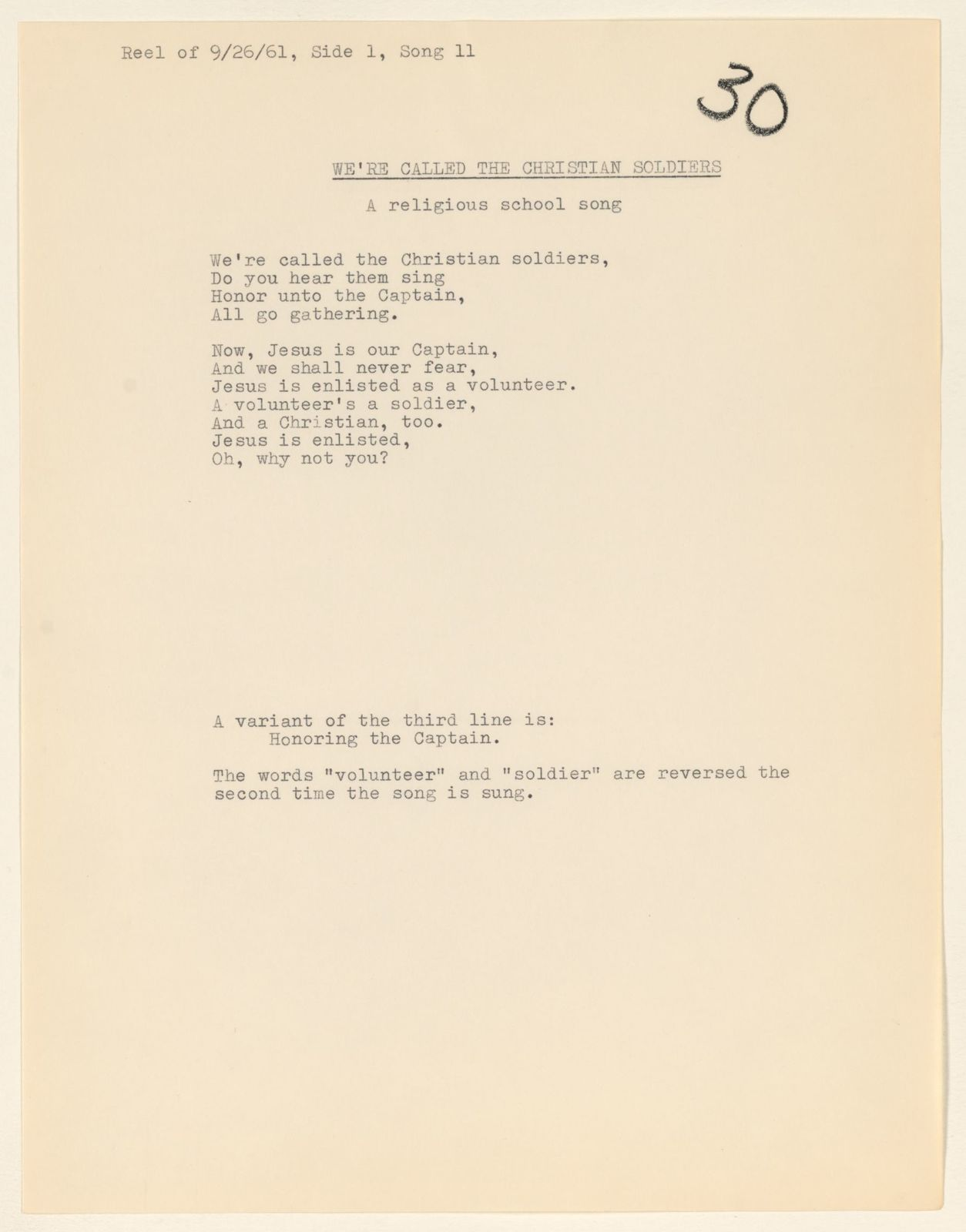Alan Lomax Collection, Manuscripts, New York City, 1961-1962
