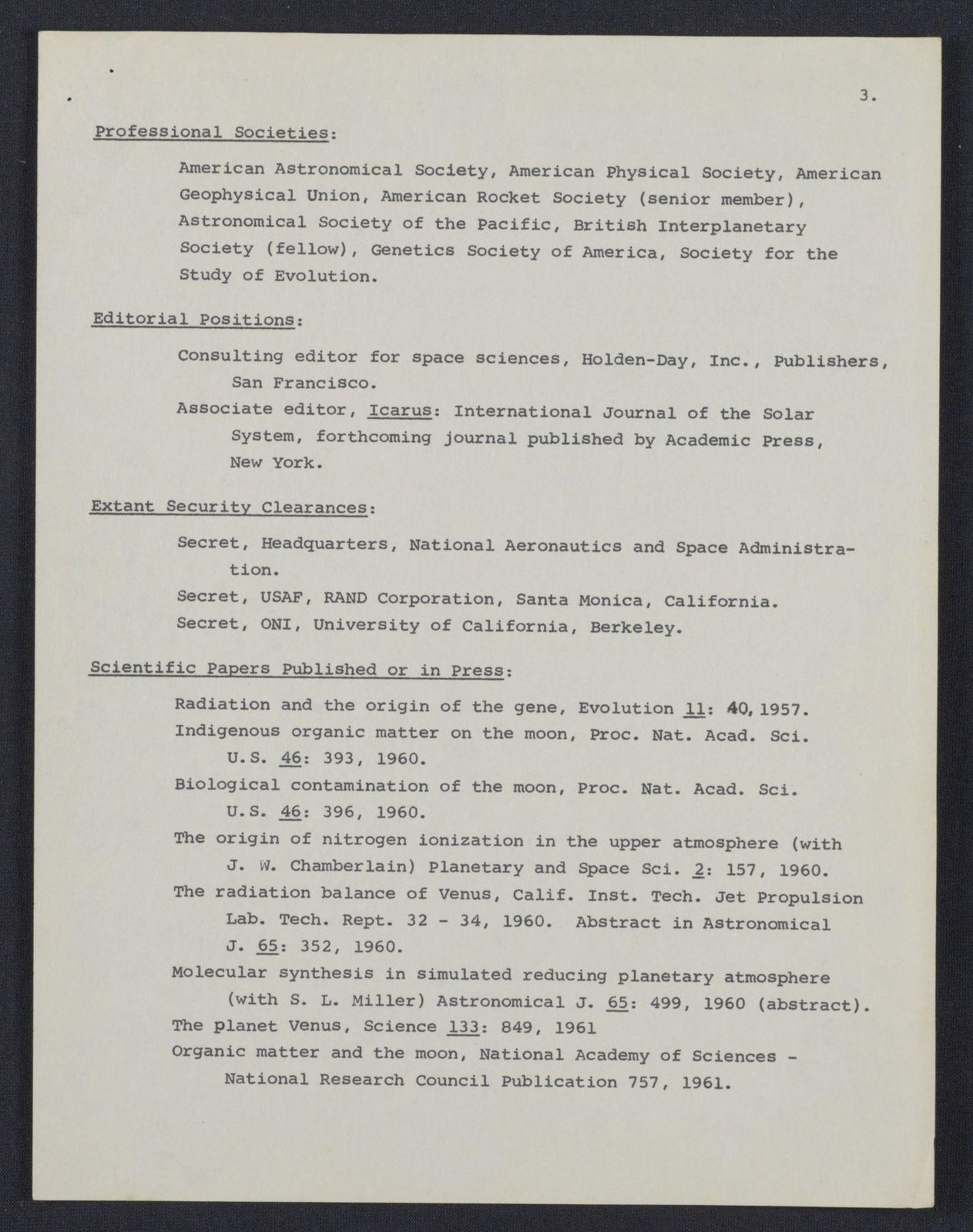 Carl Sagan : curriculum vitae | PICRYL