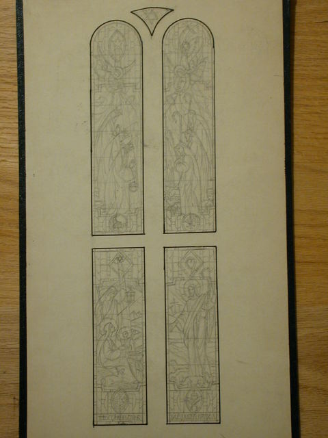 [Design drawing for stained glass Baptistery window showing Childhood of Our Lord, Good Shepherd for Mariners' Church in Detroit, Michigan]