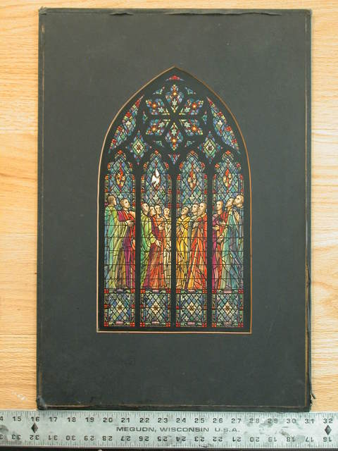 [Design drawing for stained glass west transept window showing Pentecost for St. John's Episcopal Church in Tampa, Florida]