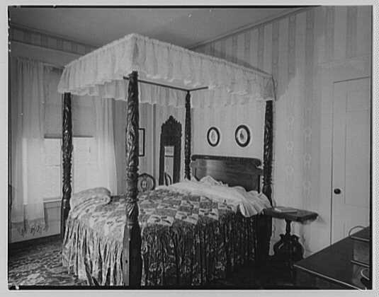 Franklin Pierce, residence at 52 S. Main St., Concord, New Hampshire. Bed, canopy, night table