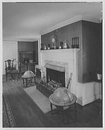 John Adams, residence in Quincy, Massachusetts. Fireplace in Adams' study