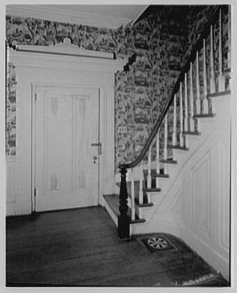 John Tyler, Sherwood Forest, residence in Virginia. Front door, to floor break and furnace