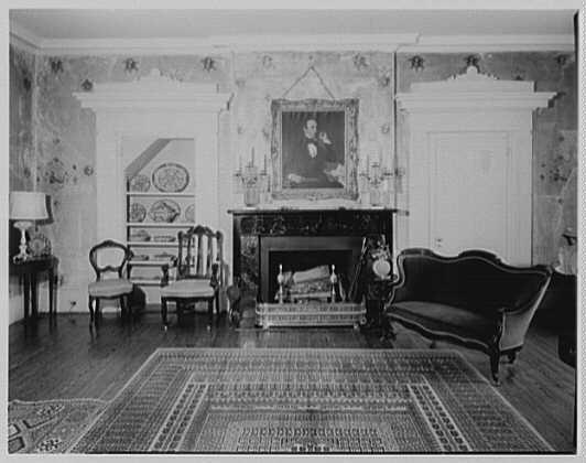 John Tyler, Sherwood Forest, residence in Virginia. Living room, to fireplace