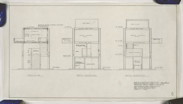 """[Managers office, parking garage, New Haven, Connecticut. Scheme A (""""square""""). North elevation, south elevation, and section XX]"""