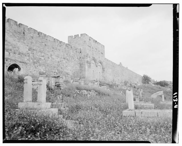 Temple Area, Mosque of Omar [i.e., Dome of the Rock], etc. The Golden Gate from the west
