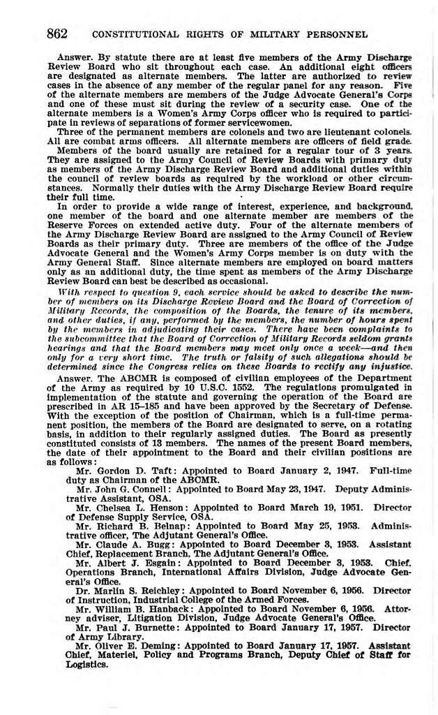 Constitutional Rights of Military Personnel. Hearings . . . 1962 (Federal Research Division: Customized Research and Analytical Services, Library of Congress)